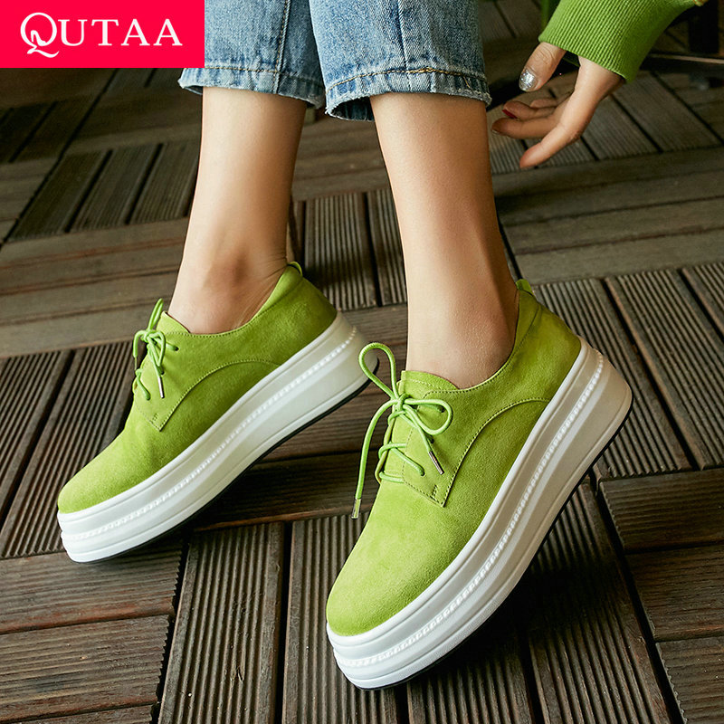 QUTAA 2020 Women Shoes Platform Wedges Heel Round Toe Lace Up Cow Suede Casual Spring autumn