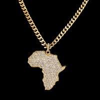 נשים תכשיטי אופנה אפריקאית/גברים מתנות אופנתי ריינסטון אפריקה תליון המפה עבור HipHop אופנה