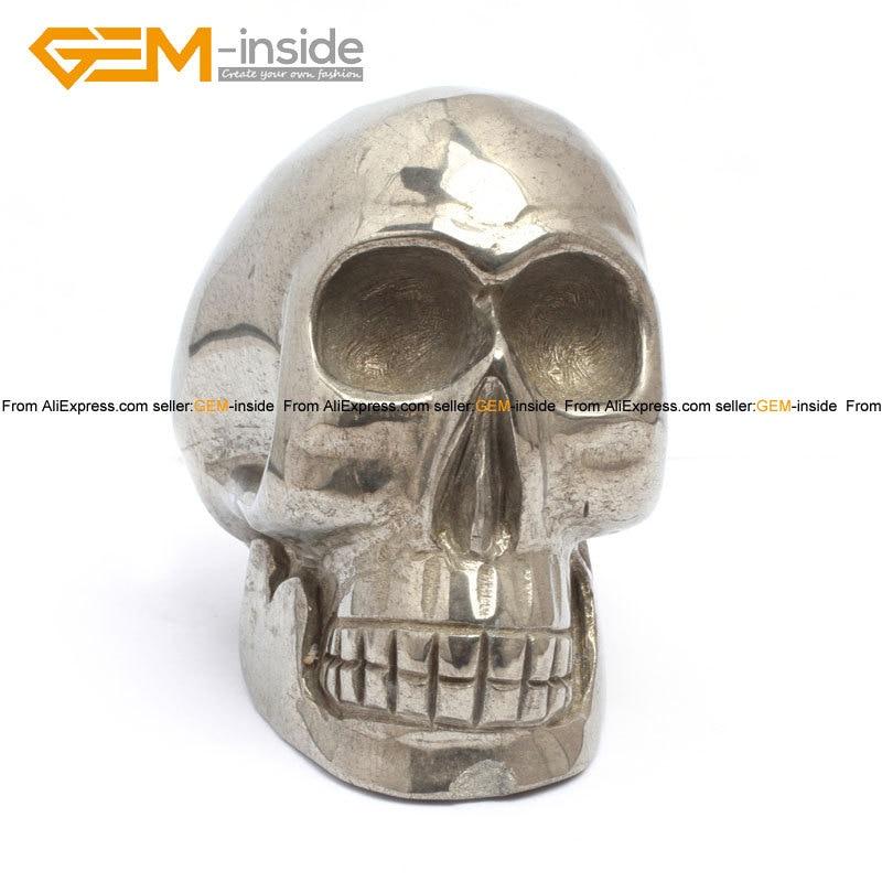 Gem-inside forme de crâne naturel & éléphants pour paracor argent gris Pryite décoration 4 pouces 1 pièces pour femme homme enfants cadeau