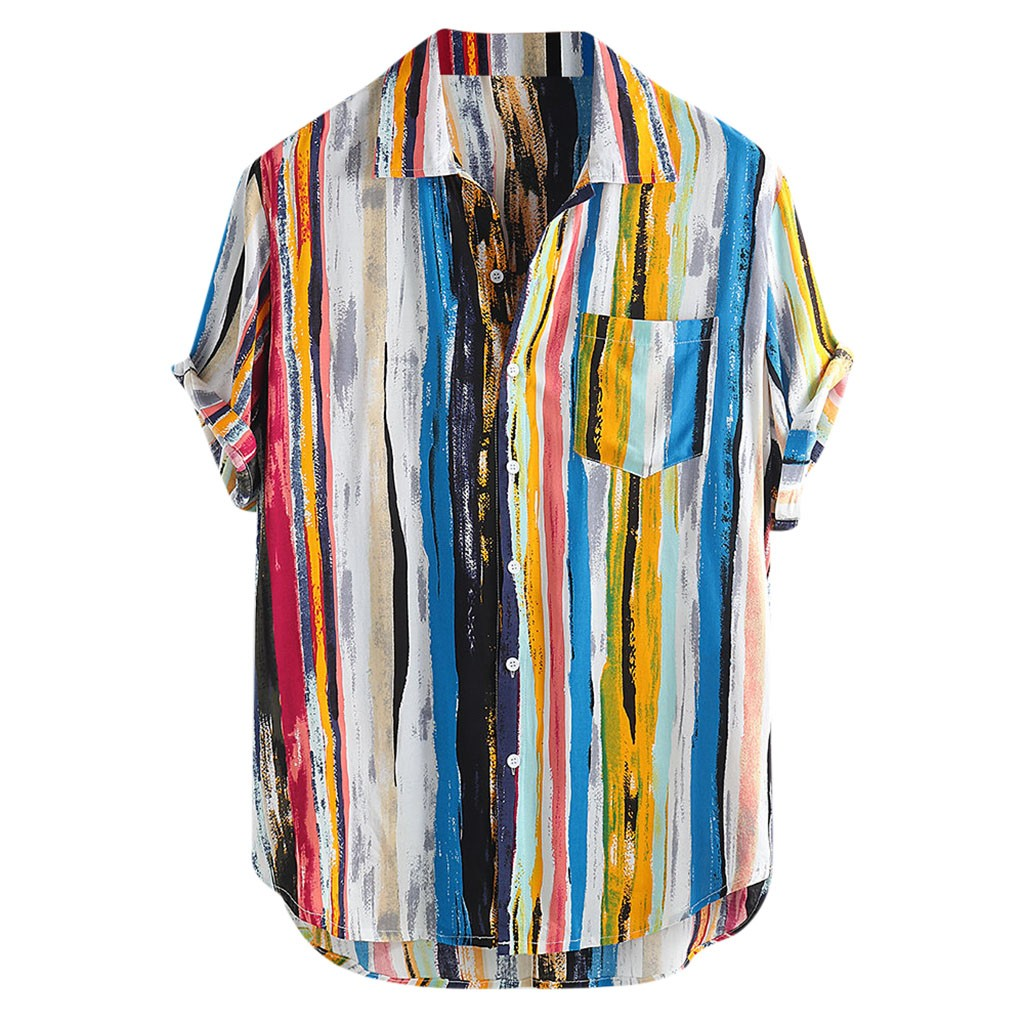 M-4XL Mens Multi Color Lump Chest Pocket Short Sleeve Round Hem Loose Shirts Blouse Men Clothing Soft Comfortable Men's Shirt