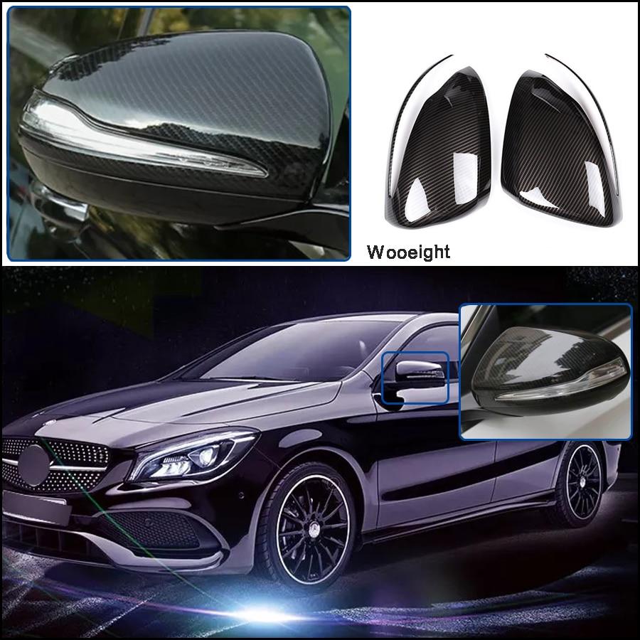 2 pièces pour Mercedes Benz C E classe W205 W213 GLS 2016-2018 style porte latérale miroir aile couvercle de rétroviseur garniture en Fiber de carbone