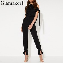 d67e1e1d0bd Glamaker Knitted one shoulder elegant jumpsuit Women high waist lace up black  summer romper Female sexy