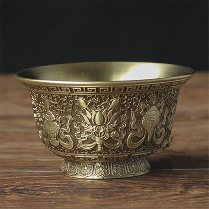 Eight Auspicious Exquisite Tibetan Buddhism Brass Carving Tall Cup  Pray Buddha Polished Sacred Bowl Home Decorations