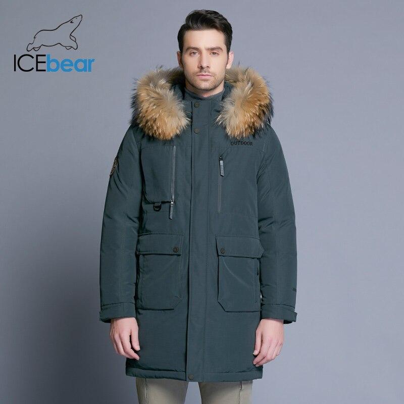ICEbear 2019 nueva chaqueta de invierno para hombre chaqueta desmontable de alta calidad chaquetas de hombre gruesa ropa de cuello de piel caliente MWY18963D-in Plumíferos from Ropa de hombre    2