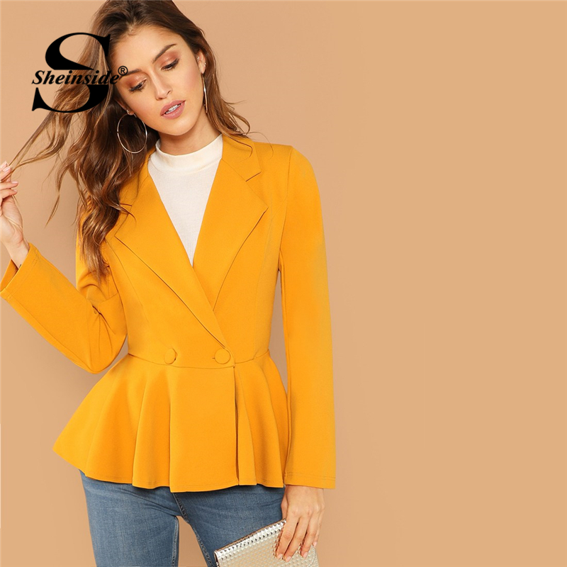 Sheinside Ginger Elegant Women Blazers And Jackets Long Sleeve Office Lady Peplum Blazer 2018 Fall Womens Fashion Slim Outerwear