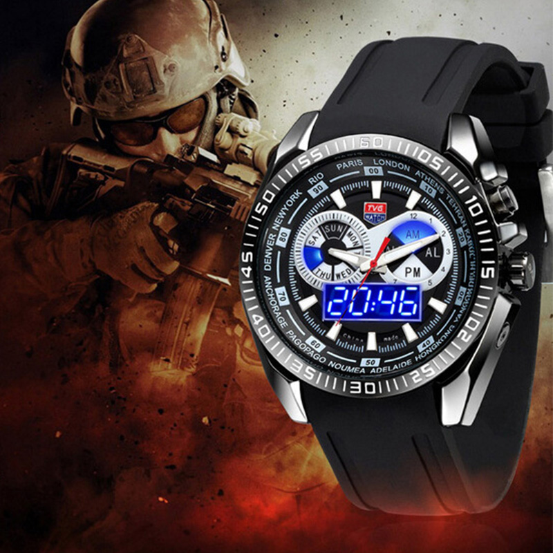 Luxury sports watches TVG 468G High-end brand watches Military men watch Rubber Watchband Waterproof Blue LED Display Wristwatch tvg 579 luminous led military outdoor sports wristwatch men multifunction dual time watches