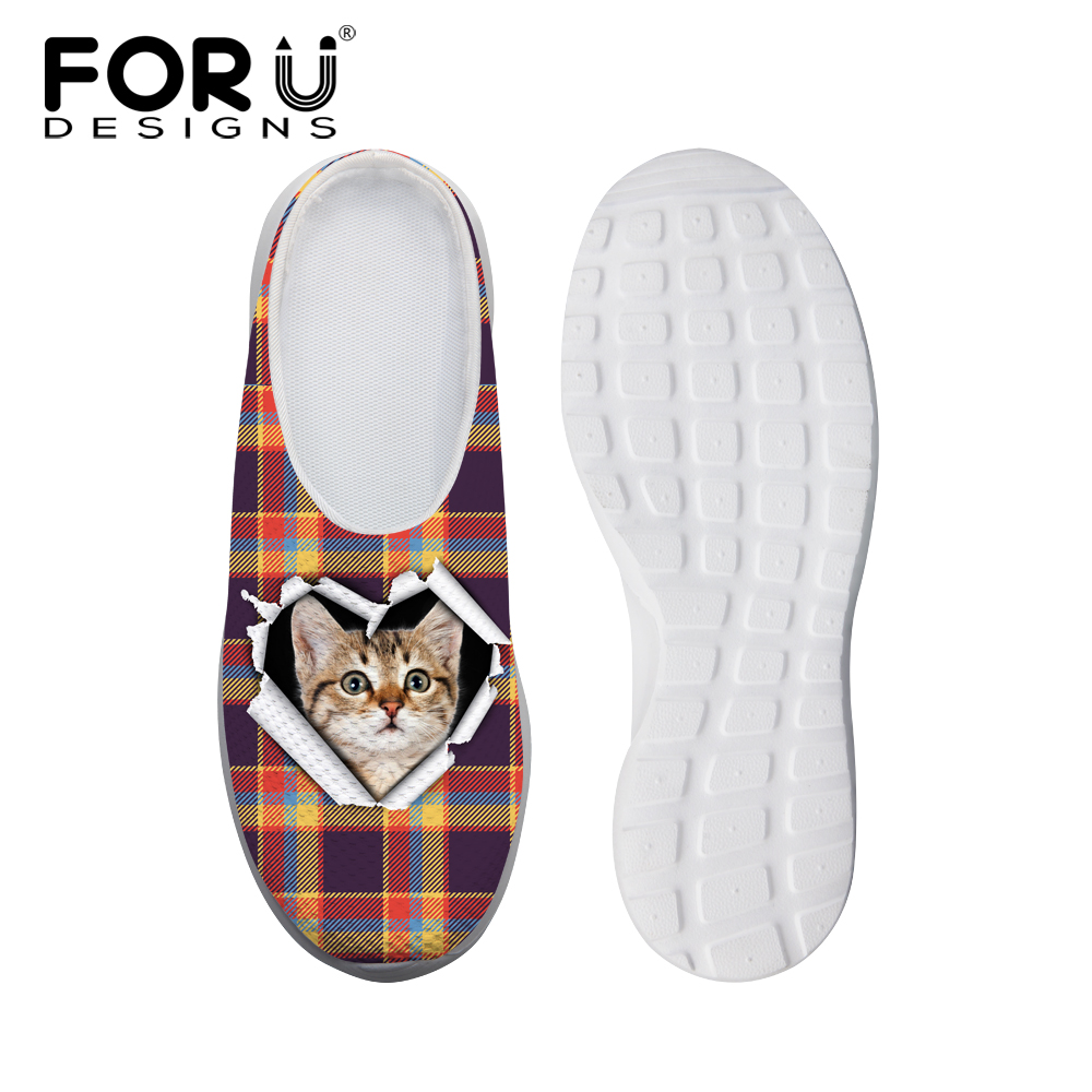 FORUDESIGS Cute Animal Cat Printed Women Mesh Sandals Female Beach Slip-on Slippers Fashion Ladies Breathable Light Weight Shoes