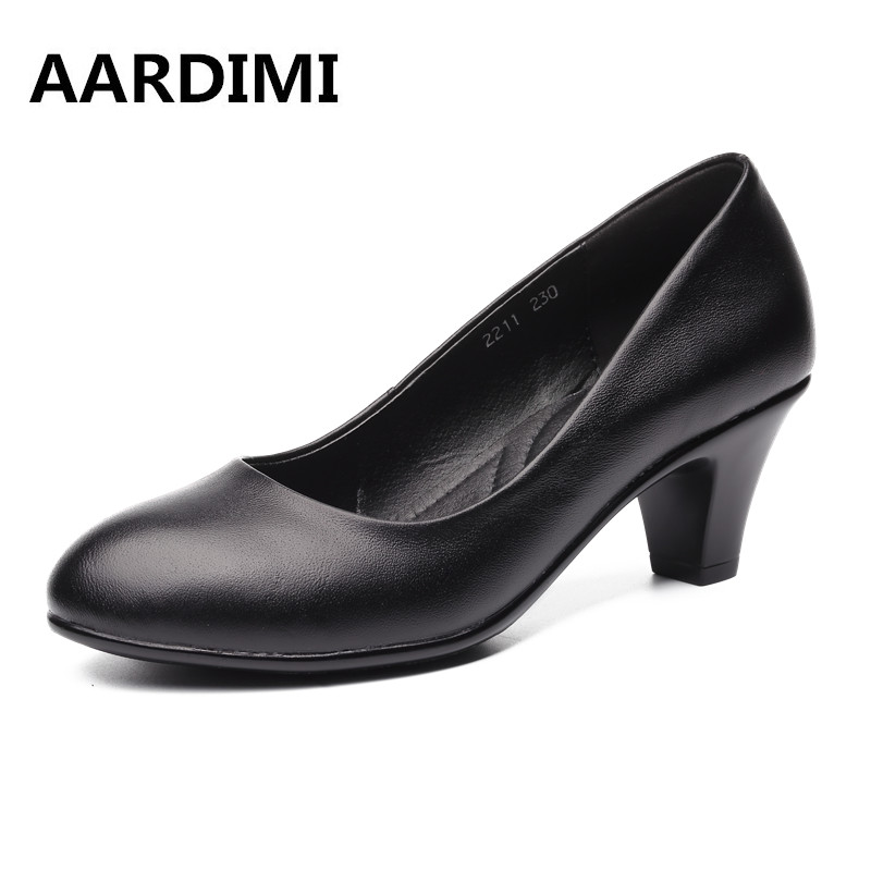 Top quality classic high heels shoes women genuine leather women pumps summer autumn slip on black high heeled shoes woman