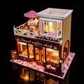D011 Grande DIY casa de boneca de madeira Europeia coffee shop loja de miniaturas casa de bonecas em miniatura