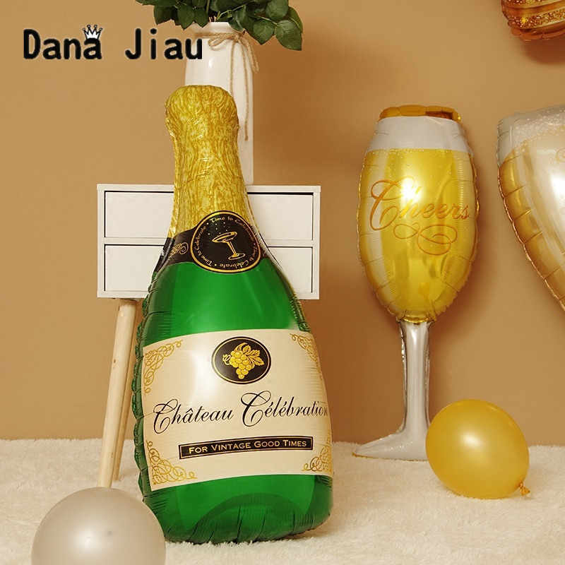 Wine bottlechampagne  cup Whiskey  Balloon 30 years old Happy Birthday Party Decor Aged To Perfection gold king crown