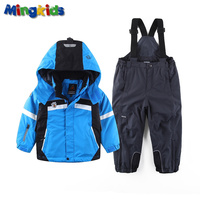 Russian mingkids Snowsuit baby Boy Ski set Outdoor Winter Warm Snow Suit waterproof windproof padded European Size
