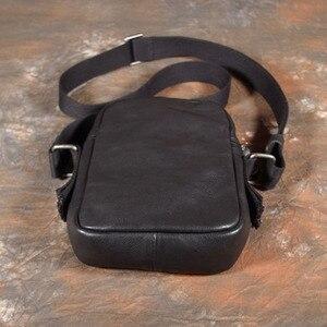 Image 2 - AETOO بسيطة صغيرة عليقة هاتف محمول حقيبة صغيرة crossbody حقيبة كتف الرجال حقيبة جلدية الطبقة الأولى غير رسمية