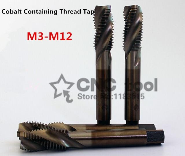 10 قطعة M3 M12 الكوبالت عالية السرعة الصلب آلة الصنابير دوامة مخدد الحنفية الخاصة الفولاذ المقاوم للصدأ المسمار الحنفية (M3/M4/M5/M6/M8/M10/M12)