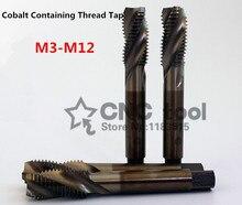10 Pcs M3 M12 Cobalt Hoge Snelheid Staal Machine Kranen Spiraal Geribbelde Tap Speciale Rvs Schroef Tap (M3/m4/M5/M6/M8/M10/M12)