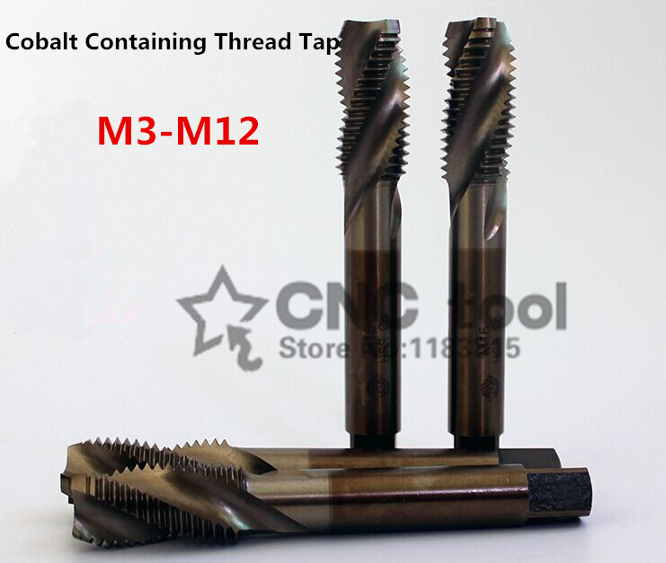 10PCS M3-M12 Cobalt High Speed Steel Machine Taps Spiral Fluted Tap Special Stainless Steel Screw Tap (M3/M4/M5/M6/M8/M10/M12)