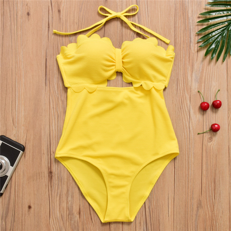 2017 Halter Push Up Swimwear Women High Waist Bathing Suit One Piece Swimsuit Bodysuit Monokini Yellow 2017 new sexy one piece swimsuit strappy biquini high waist one piece swimwear women bodysuit plus size bathing suits monokinis