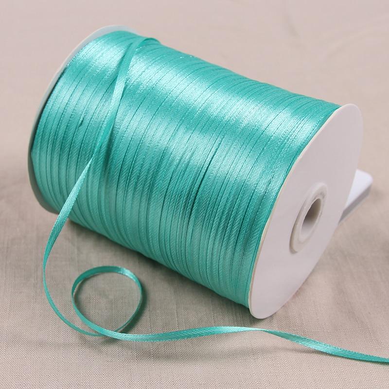 3 мм атласные ленты 22 м/лот DIY ручной работы товары для украшения свадьбы, дня рождения Подарочная упаковка белые ленты - Цвет: Blue Green