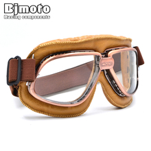 bjmoto 5 Colors Motorcycle Cruiser Scooter Biker motorcross Retro Vintage goggle glasses For Harley sports