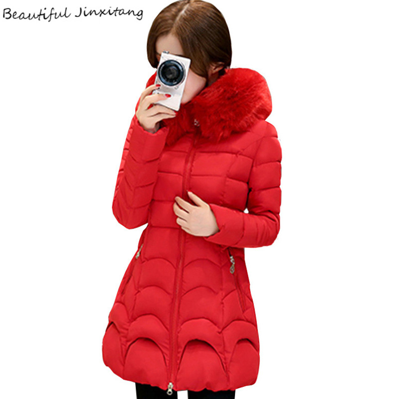 2017 New Korean down jacket Plus size Winter jacket women Slim big fur collar thick coat female Solid color Hooded coats K177 A1