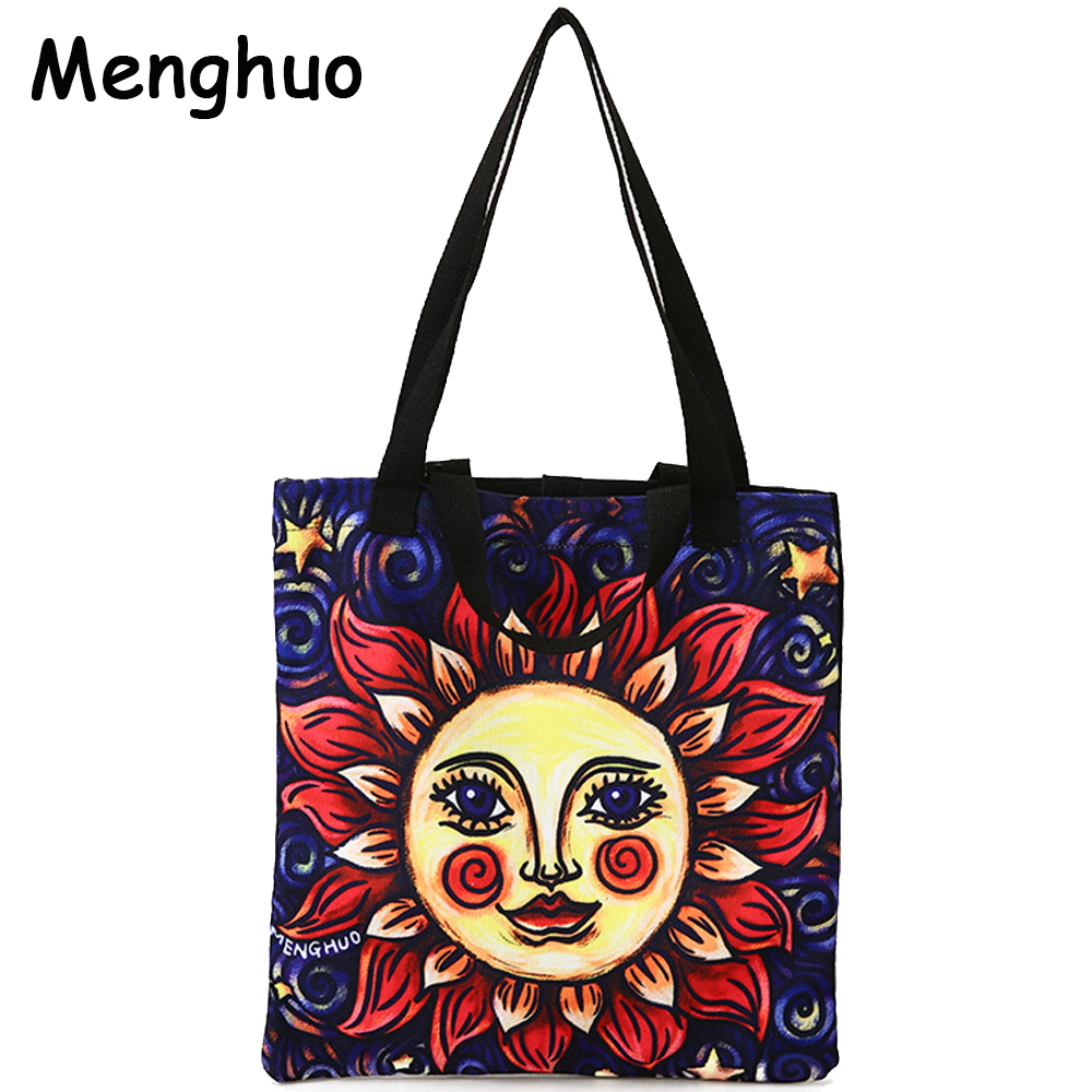 Menghuo Original Design New Tarot Canvas Handbags Printed Bags Beach Bags Large Capacity Tote Women Casual Shopping Bags Bolsa