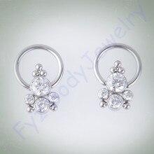 G23 טיטניום לוח סט ברור CZ אוזן Tragus Cartilalges Stud CBR השבוי טבעת פטמה טבעת פירסינג 16G האף טבעת תכשיטים
