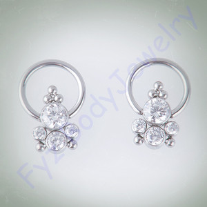 Image 1 - G23 Titanium Bezel Set Clear CZ Ear Tragus Cartilalges Stud CBR Captive Ring Nipple Ring Piercing 16G Nose Ring Jewelry