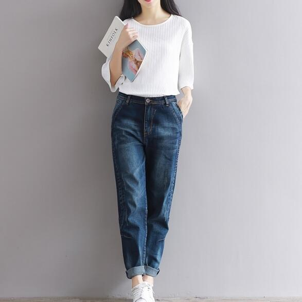 cf0cc774dd950 2018 Winter Big Size Jeans Women Harem Pants Office Trousers Denim Pants  Loose Vaqueros Vintage Harem Boyfriend Jeans AH488