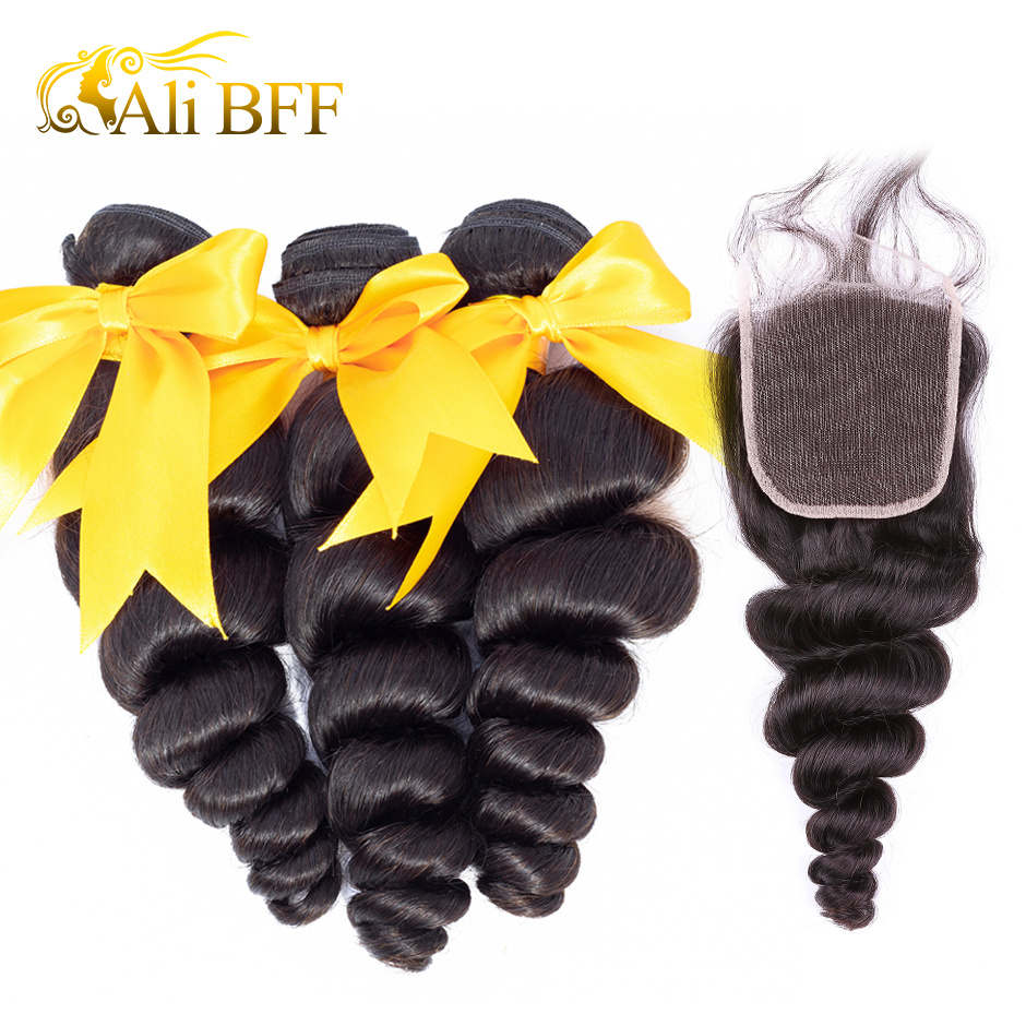 HTB14NnPaffsK1RjSszgq6yXzpXaN Loose Wave Bundle With Frontal Human Hair 3 Bundle With Lace Frontal Closure Remy Brazilian Hair Weave Bundle and Frontal