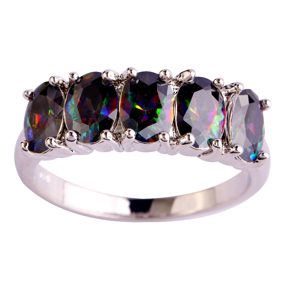 Vogue Jewelry Gems Rainbow Created Zirconia Free Shipping Silver Plated Ring Size 6 7 8 9 10 Women Man Rings Lingmei Wholesale