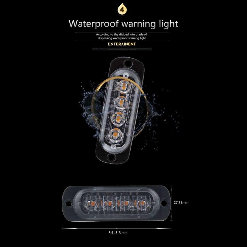 4 LED Strobe Warning Light Strobe Grill Flashing Breakdown Emergency Light Car Truck Beacon Lamp Amber Yellow White Traffic Ligh