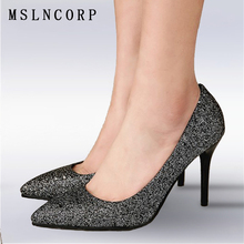 Plus Size 34-43 Women Pumps Bling High Heels Glitter Shoes Woman Sexy Pointed Toe Shallow Party Gold Silver Dress wedding shoes am 1311 фигурка пудель латунь янтарь