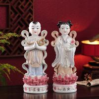 Wholesale Buddha figure A pair TOP HOME family Talisman Buddhism GUANYIN TONGZI maidens The Golden Couple color Ceramic statue