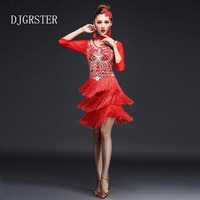 DJGRSTER 2017 Sexy Latin Dance Dress Women Girls Polyester Flamengo Salsa Samba Tango Ballroom Competition Costume