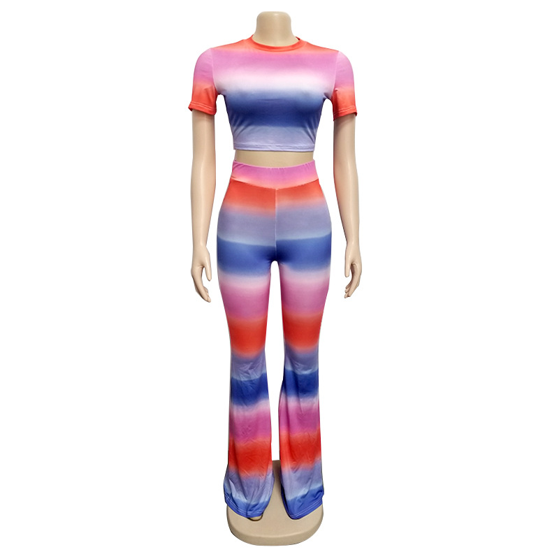 Striped Print 2 Piece Rainbow Outfit Crop Top and Pants Slim Bodycon Women Pants Set Suit Sport Wear Tracksuit Club Outfits in Women 39 s Sets from Women 39 s Clothing