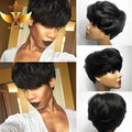 7A Top Grade Front Lace Front Human Hair Wigs 100% Unprocessed Machine Made Glueless Rihanna Chic Cut Short Wigs For Black Women