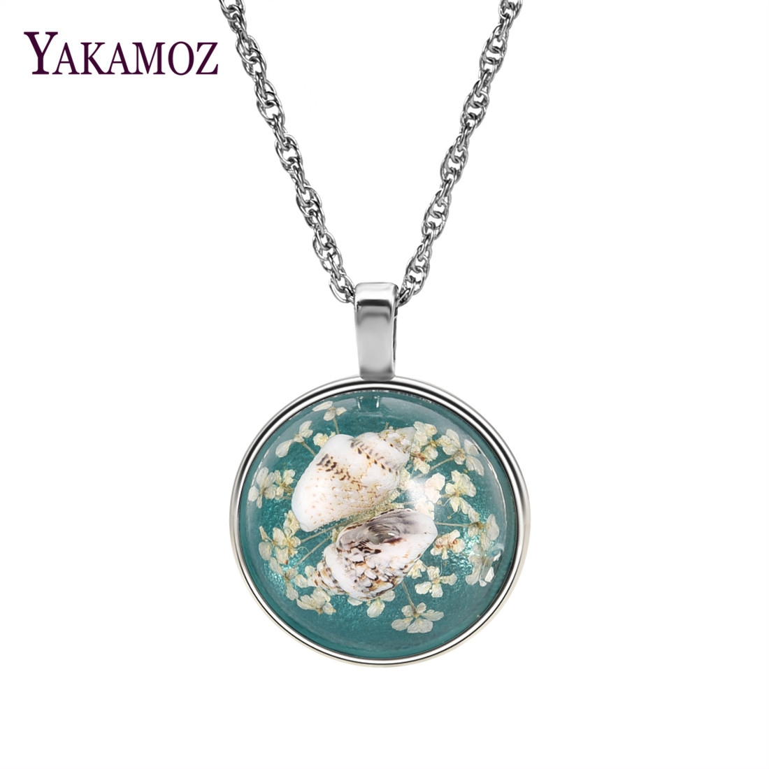 Handmade Starfish Pendant Necklace Resin Blue Choker For Women Gift Natural Dried Flower Conch Jewelry Christmas Gifts