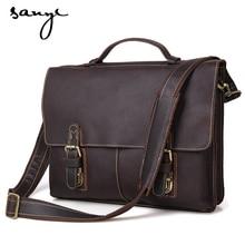 Leather business men's bag leather handbag shoulder bag briefcase computer bag