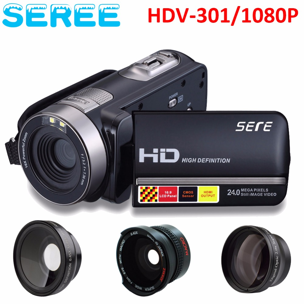 Seree 17 Latest HDV-301 Portable Camcorder Full HD 1080P 16x Digital Zoom Digital Video Camera Recorder DVR 3