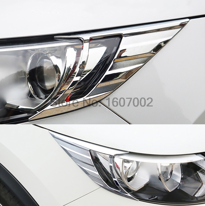 For NISSAN QASHQAI J11 2014 2015 2016 ABS Chrome Front Head Light Lamp Headlight Eyelid Trim Styling Cover Molding Bezel