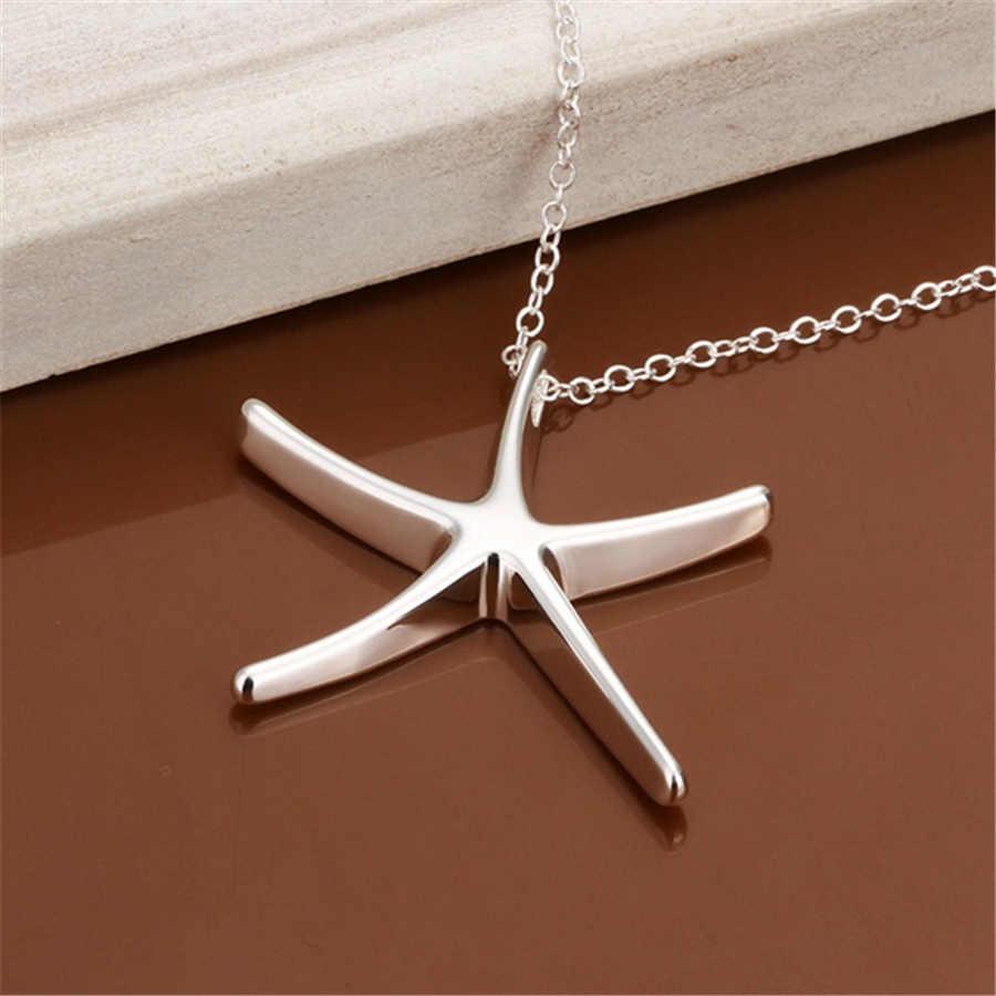 Gros argent couleur collier bijoux bijoux en argent mode mignon étoile de mer chaîne collier femmes dame mariage p027,