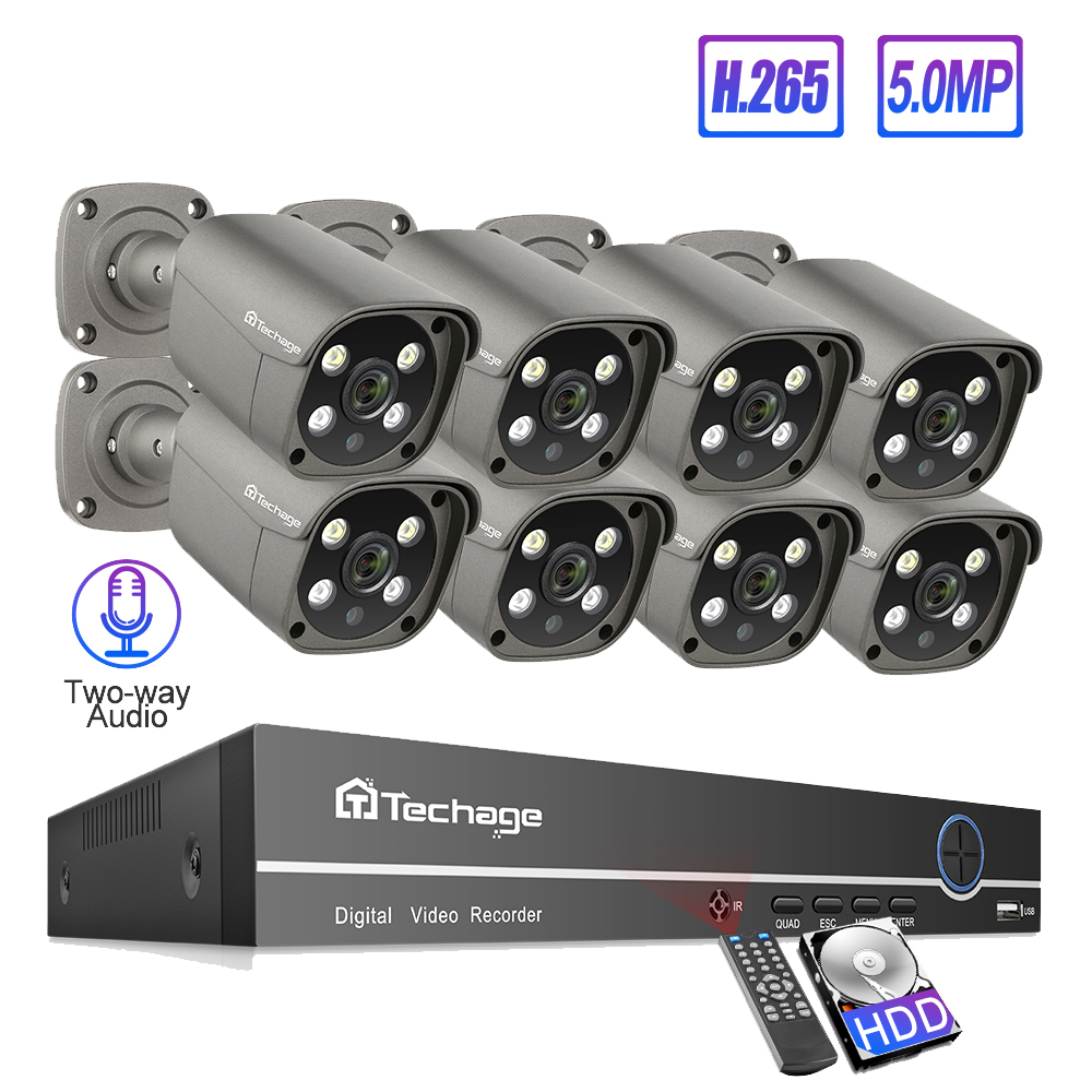 Techage 8CH 5MP POE NVR Security Camera System H.265 Two-way Audio Record IP Camera Indoor Outdoor CCTV Video Surveillance Kit