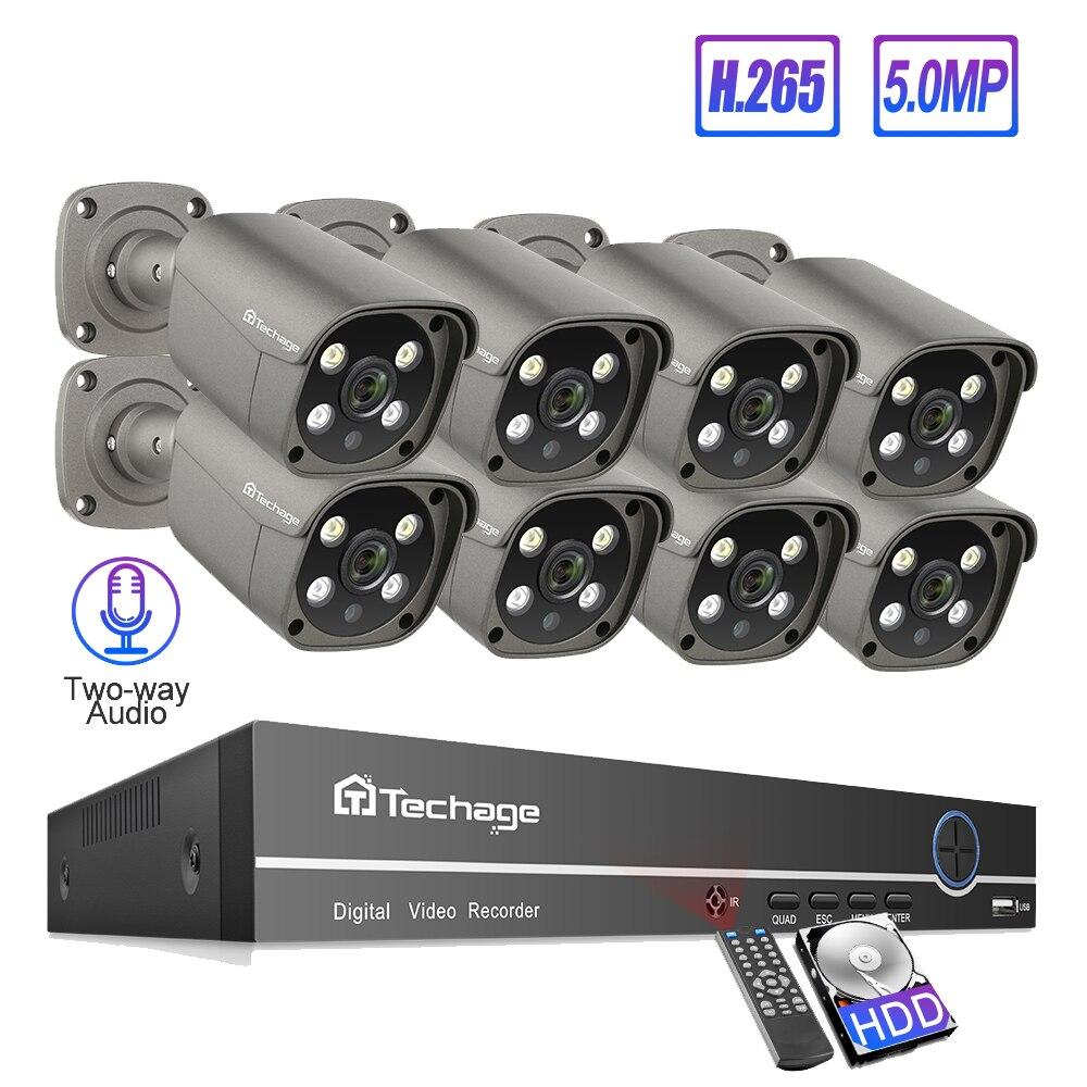 Techage 8CH 5MP POE NVR Sistema de Câmera de Segurança H.265 Two-way Audio Record IP Câmera Ao Ar Livre Indoor CCTV Vídeo kit de vigilância