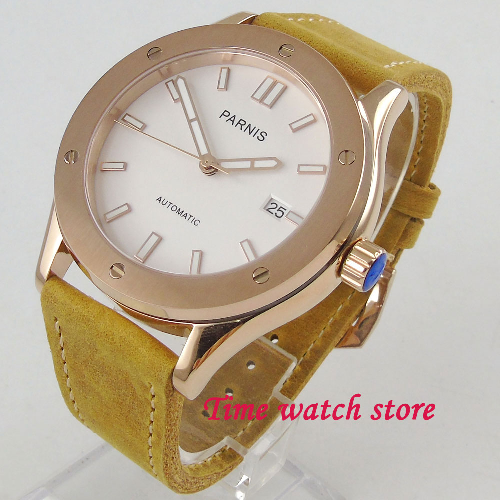 42mm Parnis mens watch white dial Gold plated case 24 jewels Japan NH35A Automatic movement wrist watch men 121742mm Parnis mens watch white dial Gold plated case 24 jewels Japan NH35A Automatic movement wrist watch men 1217