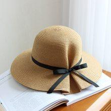 Nova Moda Pequeno Fresco Arco Mulheres Chapéus de Sol Menina Chapéu Viseira Verão  Chapéu de Aba ab615e48118