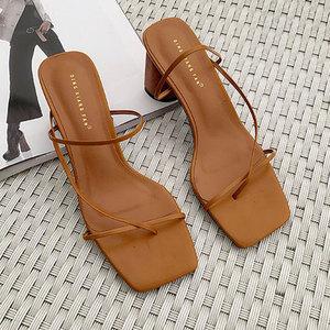 Image 5 - GENSHUO Women Vintage Square Toe Narrow Band High Heel Sandals Women Summer Shoes Women Round Wood Heel Slide Slipper Sandals