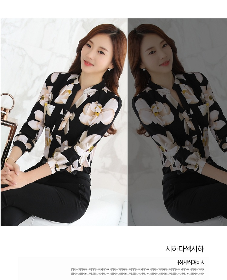 HTB14No8NFXXXXaTXXXXq6xXFXXXG - FREE SHIPPING Women Floral Chiffon Blouse  Work Office JKP116