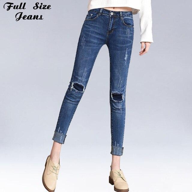 8d523fcc168 Plus Size Torn Stretch Skinny Ankle Length Jeans 4XL 5XL Women Ripped Knee  Hemming Capris Denim Trousers Nine Point Pencil Pants