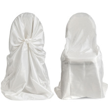 wholesale 50pcs satin universal chair cover for wedding SELF TIE CHAIR COVER FOR RESTAURANT