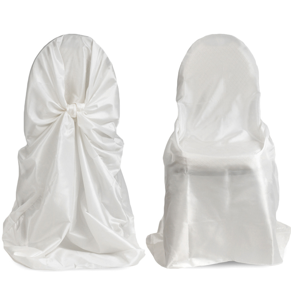 White Universal Chair Covers Best Chairs Inc Recliner Reviews Detail Feedback Questions About 50pcs Satin Cover For Wedding Self Tie Party Restaurant Favors With High