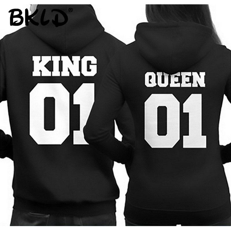 BKLD 2018 Fashion King Queen Hoodie Couple Pullover Sweatshirt Unisex Hoodies Causal Long Sleeve Crewneck Love Hoodies Men Women
